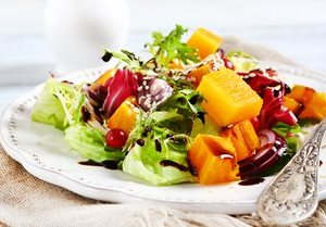 fall salad with pumpkin