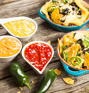 Spicy Nachos with Three Different Dips